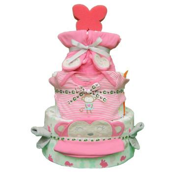 Торт из памперсов «Розовый зверек»