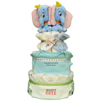Торт из памперсов для двойняшек и близнецов «Слоники-близнецы»