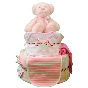 Торт из памперсов «Розовый мишка»