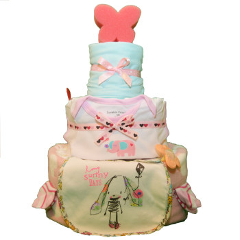 Торт из памперсов «Мятно-розовый»