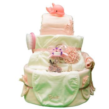 Торт из памперсов «Персиковый фламинго»