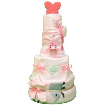 Торт из памперсов «Розовая башня»