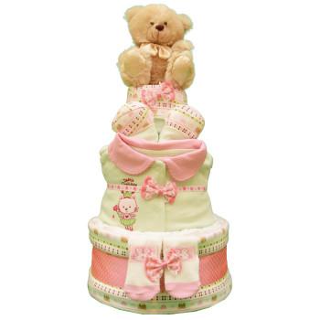 Торт из памперсов «Салатово-розовый»