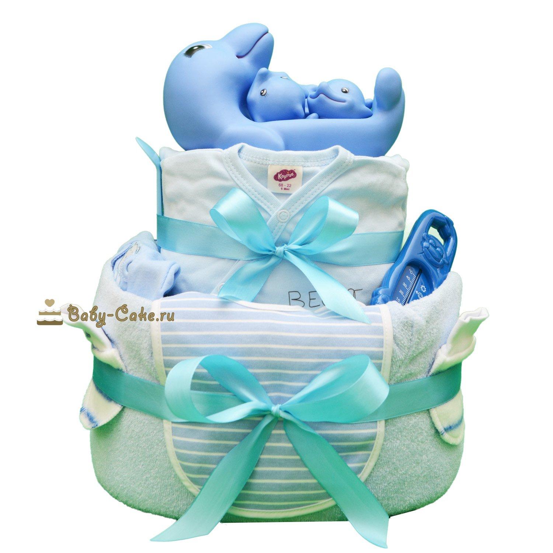 Торт из памперсов «Голубые дельфины»