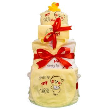 Торт из памперсов «Желтый мишка»