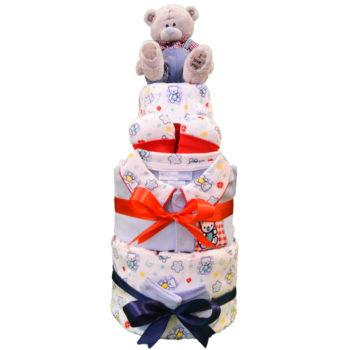 Торт из памперсов «Праздничный мишка»